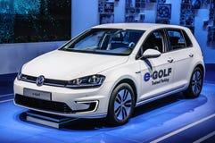 FRANCFORT - SEPTEMBRE 2015 : L'e-golf de VW de Volkswagen a présenté au moteur d'International d'IAA Photographie stock libre de droits