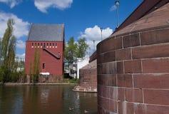 Francfort sur Main - vieux pont AM Maininsel (auberge de trois taureaux)) Photo stock