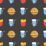Franch fries, burger and cola seamless pattern. Template for kids menu restaurant. Vector illustration.  Stock Image