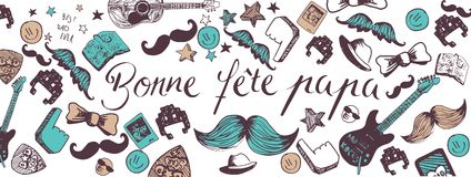 French Happy Father`s Day background. Franch Happy Father`s Day full vector large banner Royalty Free Stock Photos