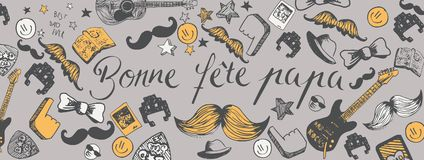 French Happy Father`s Day background. Franch Happy Father`s Day full vector large banner Royalty Free Stock Image