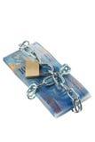 Franchi svizzeri con una serratura e una catena. Fotografie Stock Libere da Diritti