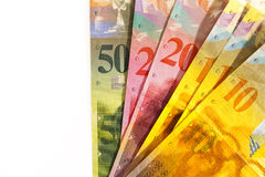 Franchi svizzeri di valuta con lo spazio della copia Fotografia Stock