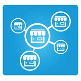 Franchise business. Concept on blue button Stock Photography