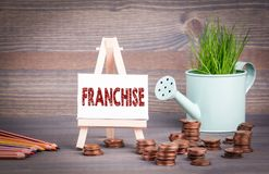 Franchise,  business concept. miniature watering pot with fresh green spring grass and small change Royalty Free Stock Photography