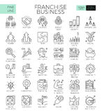 Franchise business icons. Franchise business concept detailed line icons set in modern line icon style concept for ui, ux, web, app design Royalty Free Stock Photos