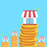Franchise business shops and money coins. For design Royalty Free Stock Image