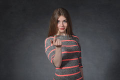 Franchise, concept d'amitié La femelle attire le doigt Image libre de droits