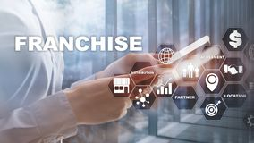 Franchise consept on virtual screen. Marketing Branding Retail and Business Work Mission Concept. Franchise consept on virtual screen. Marketing Branding Retail royalty free stock photos