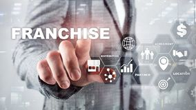 Franchise consept on virtual screen. Marketing Branding Retail and Business Work Mission Concept. Franchise consept on virtual screen. Marketing Branding Retail royalty free stock image