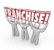 Franchise 3d Word Lifted People Workers Entrepreneur New Company Royalty Free Stock Images