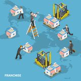 Franchise flat isometric vector concept. Businessmen are arranging stores on the Earth map Royalty Free Stock Photos