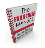 Franchise Manual Book Cover Instructions Help Advice Business Fr. Franchise Manual words on a spiral bound book cover illustrating instructions on securing and Royalty Free Stock Photos