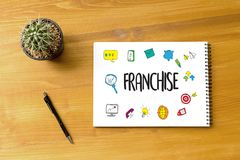 FRANCHISE Marketing Branding Retail and Business Work Mission C. Oncept royalty free stock photography