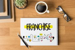 FRANCHISE Marketing Branding Retail and Business Work Mission C. Oncept royalty free stock image