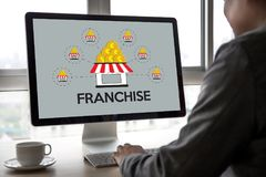 FRANCHISE Marketing Branding Retail and Business Work Mission C. Oncept royalty free stock photos