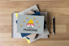 FRANCHISE Marketing Branding Retail and Business Work Mission C. Oncept royalty free stock photo