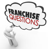 Franchise Questions Business Person Help License Chain Store Bra. Franchise Questions in a thought cloud over a thinking person's head to illustrate needing help Royalty Free Stock Photography