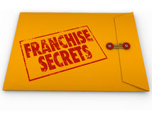 Franchise Secrets New Chain License Business Success Tips Advice. Franchise Secrets red stamped words on a yellow classified or confidential envelope to Royalty Free Stock Image