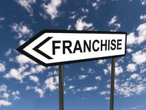 Franchise. Text 'franchise' in black uppercase letters inscribed on highway style sign post with double arrow, blue sky and cloud background stock images