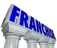 Franchise Word Stone Marble Pillars Columns Strong Established B. Franchise word on stone or marble pillars or columns to illustrate the strength and brand power Royalty Free Stock Photography