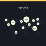 Franchise worldwide flat vector illustration Stock Image