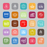 Franchisee business line flat icons Stock Image