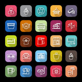 Franchisee business line icons with long shadow Stock Photo