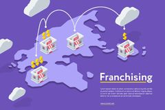 Franchising chains store on purple royalty free illustration