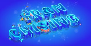 Franchising. Vector Isometric 3d Word. Big Letters vector illustration