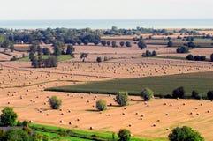 Francia, Bretaña una descripción distante de campos con el heno rodado Imagenes de archivo
