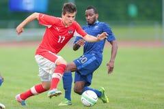 Francia contra Austria (U19) fotografía de archivo libre de regalías