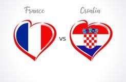 Francia contra las banderas de Croacia, fútbol del equipo nacional en el fondo blanco Imágenes de archivo libres de regalías