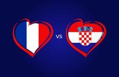 Francia contra las banderas de Croacia, fútbol del equipo nacional en fondo de los azules marinos Fotografía de archivo