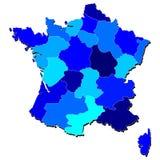 Francia detalló el mapa en sombras del azul Stock de ilustración