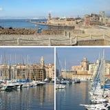 Francia meridional: señales en Marsella, puerto viejo, collage Fotografía de archivo