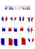 Francia señala el botón por medio de una bandera Ilustración del Vector