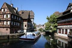 Francia y canal menudos, Estrasburgo, Francia Foto de archivo libre de regalías