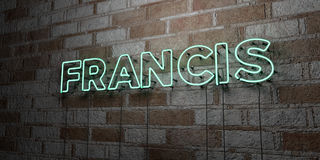 FRANCIS - Glowing Neon Sign on stonework wall - 3D rendered royalty free stock illustration Stock Photos