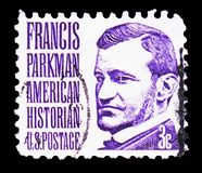 Francis Parkman, Famous Americans serie, circa 1967. MOSCOW, RUSSIA - FEBRUARY 21, 2019: A stamp printed in United States shows Francis Parkman, Famous Americans royalty free stock photos