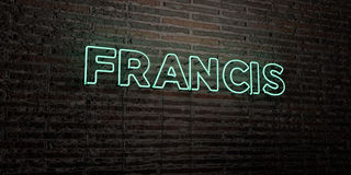 FRANCIS -Realistic Neon Sign on Brick Wall background - 3D rendered royalty free stock image Stock Photos