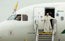 FRANCISC VISITS罗马尼亚教皇 库存照片
