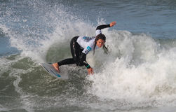 Francisca Santos in Nazare Surf Pro 2010 Royalty Free Stock Photography