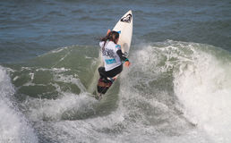 Francisca Santos in Nazare Surf Pro 2010 Stock Photo