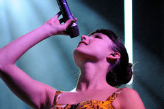 Francisca Valenzuela performs at Matadero de Madrid on June 23, 2012 in Madrid, Royalty Free Stock Photography