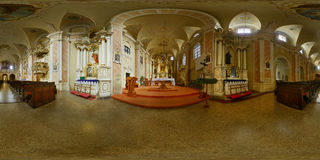 Franciscan Catholic Church Interior, Cluj-Napoca, Romania. 360 panorama of the interior of the Franciscan Catholic Chuch's Interior in Cluj-Napoca, Romania Royalty Free Stock Photography