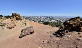 Franciscan Chert rock from the Age of Reptiles, Corona Heights Park with a view of San Francisco, 4. Franciscan Chert is usually identified by the folded or stock photography