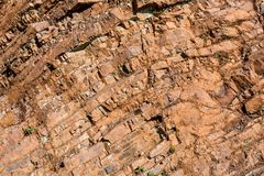 Franciscan Cherts in the Marin Headlands. Closeup on Franciscan Cherts geological formations in the Marin Headlands - geology background or backdrop Stock Photos