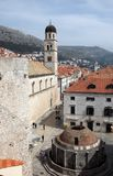 Franciscan Church and Big Onofrio fountain, Dubrovnik. Croatia Royalty Free Stock Photo