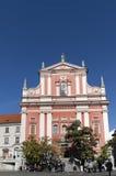 Franciscan Church in Ljubljana. LJUBLJANA, SLOVENIA - CIRCA OCTOBER 2011: Franciscan church located on Prešeren Square in Ljubljana, city's main square, circa Royalty Free Stock Photography